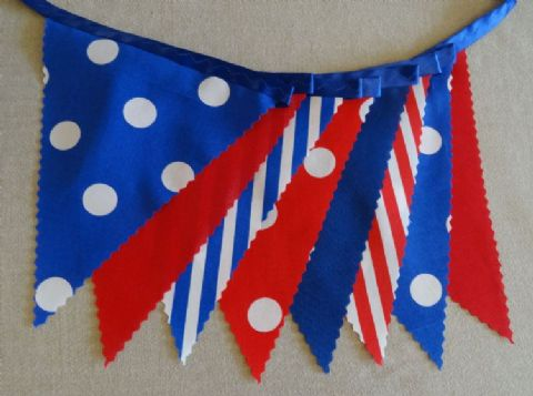 BUNTING Red White Blue - Plain Stripe Spots on Blue Ribbon - 3m/10ft or 5m/16ft